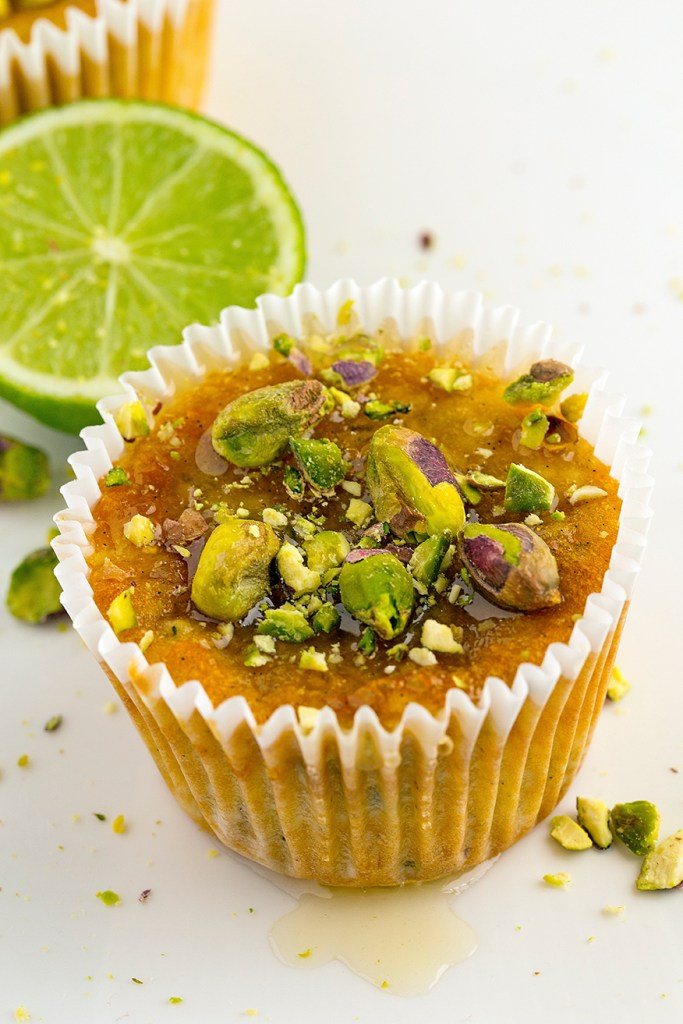 pistachio, lime, yoghurt and zucchini cupcakes
