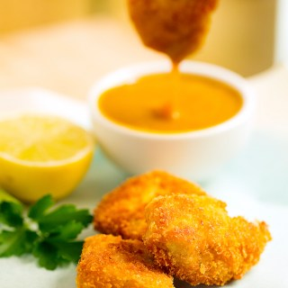 chicken nuggets with a tangy honey mustard sauce