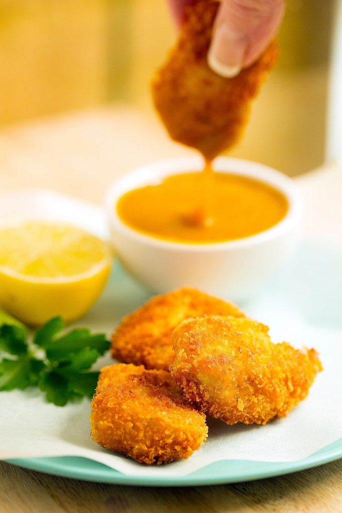 chicken nuggets with a creamy honey mustard dipping sauce get recipe at www.kidseatbyshanai.com