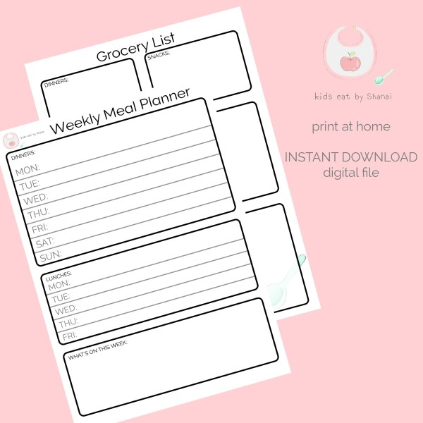 printable A5 weekly meal planner and a no waste grocery list