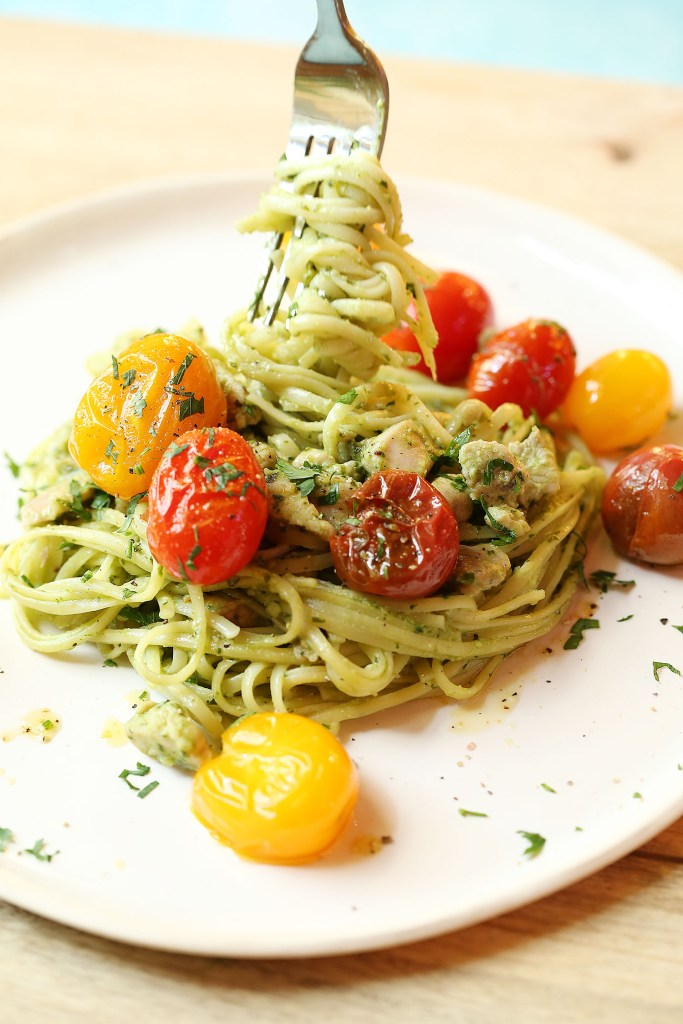 Linguini Avocado Pesto crushed tomatoes
