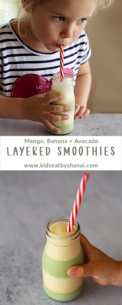 Mango, Banana + Avocado Layered Smoothies | Kids Eat by Shanai
