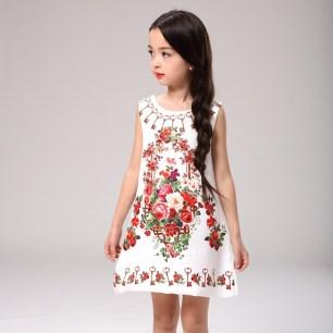 Baby-Girl-Dress-Rose-Floral-Pattern-A-Line-Princess-Dress-Girls-European-Style-Baby-Dress-Brand