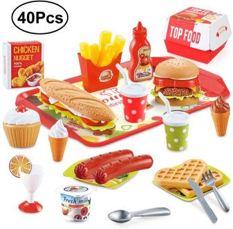 BeebeeRun Play Food Toys, Pretend Play Kitchen Set, Hamburger French Fries Variety Toys Gift for Kid, Toddlers Pretend Food Playset Children Toy Food Set