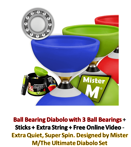 5/Ball Bearing Diabolo with 3 Ball Bearings + Sticks + Extra String + Free Online Video - Extra Quiet, Super Spin. Designed by Mister M/The Ultimate Chinese yoyo Diabolo Set