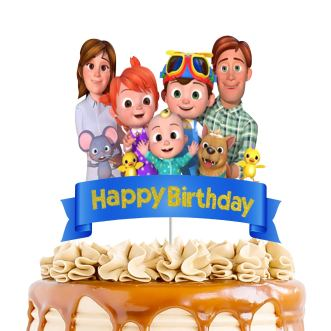 Glitter Cocomelon Cake Topper, Cocomelon Happy Birthday Cake Decor, Kids Birthday Baby Shower Party Decoration Supplies