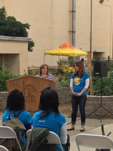 "Jenn Tedeschi, COO of KidsGardening.org, presents the 2014 Jamba Juice ""It's All About the Fruit and Veggies"" Garden Grant to Sacramento Charter High School."
