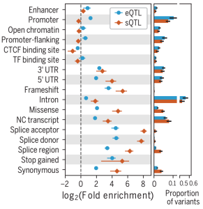 Function of eQTL and sQTL variants