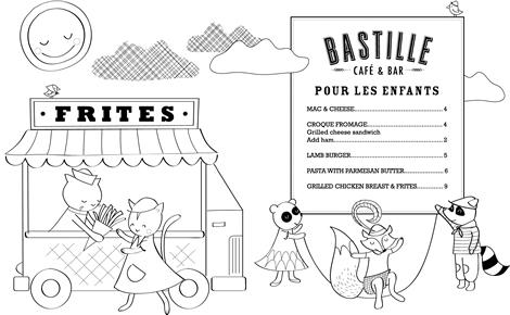 Kids Haus: Bastille Cafe & Bar Kids Coloring Page