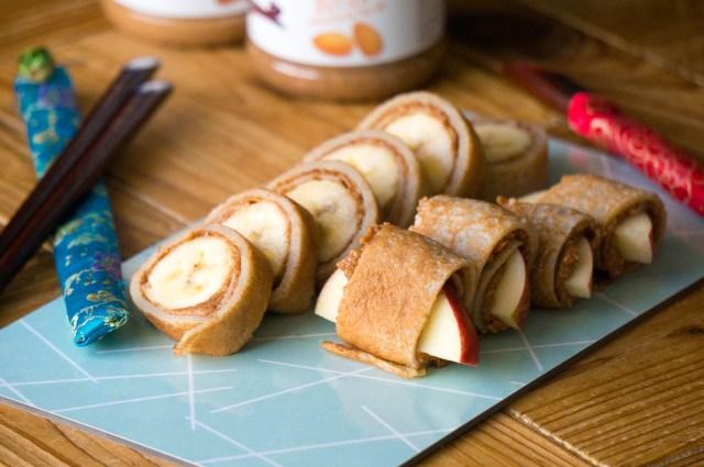 pindakaas fruit sushi kinderrecept