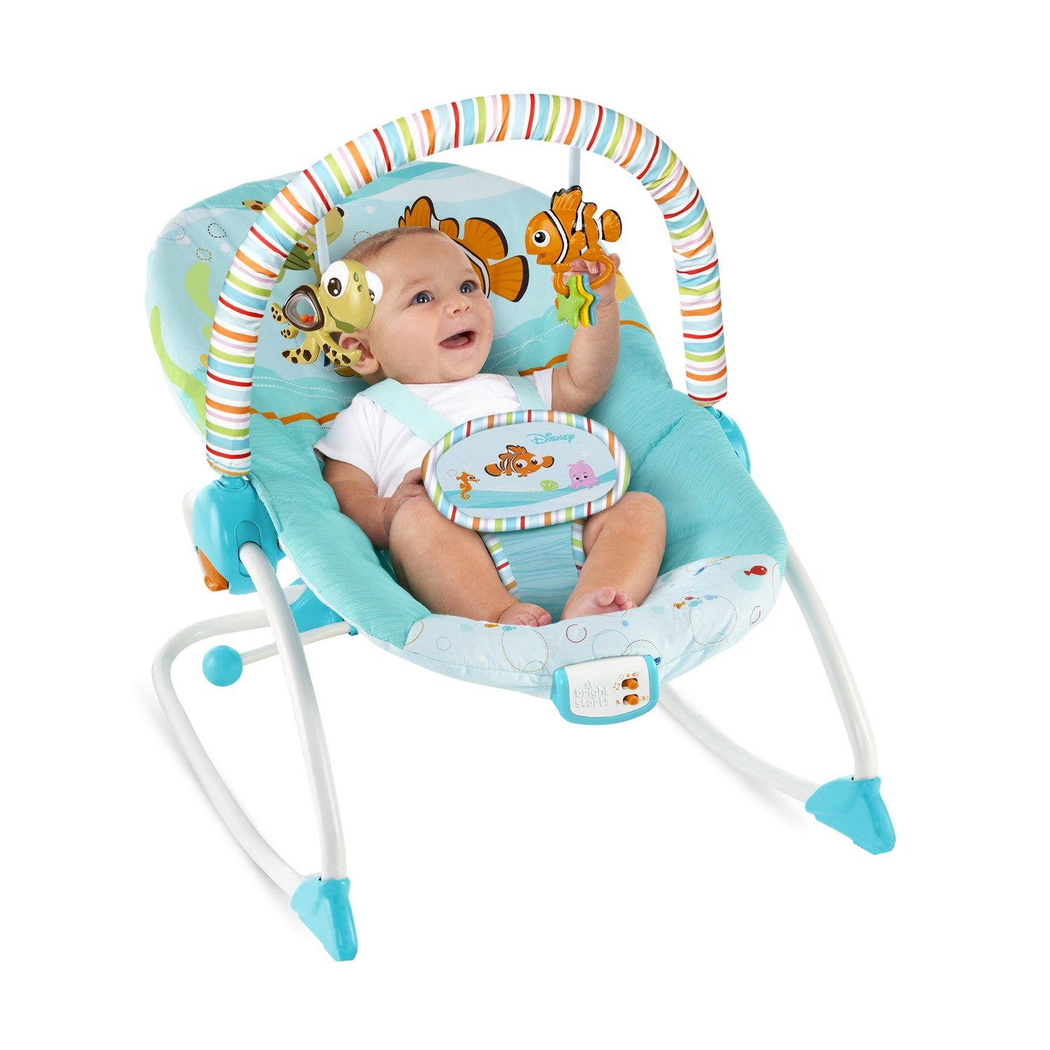 baby chair that vibrates electric was invented by finding nemo fins & friends infant to toddler rocker™