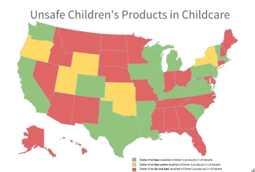 US Map of Recalled Products in Childcare