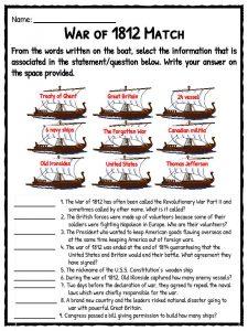 War Of 1812 Worksheet. Worksheets. Ratchasima Printable