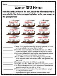 War Of 1812 Worksheet. Worksheets. Ratchasima Printable