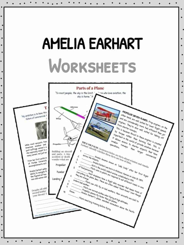 Amelia Earhart Facts, Information & Worksheets For Kids
