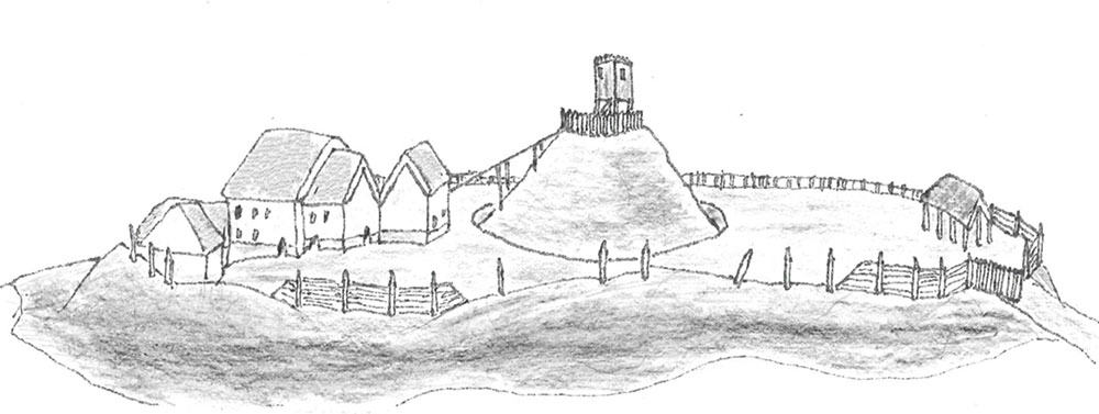 Motte And Bailey Castle Diagram Labeled Sketch Coloring Page