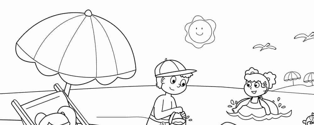 This Coloring Page Is A Summer Beach Scene With Sun Sand And Sea Summer Beach Header