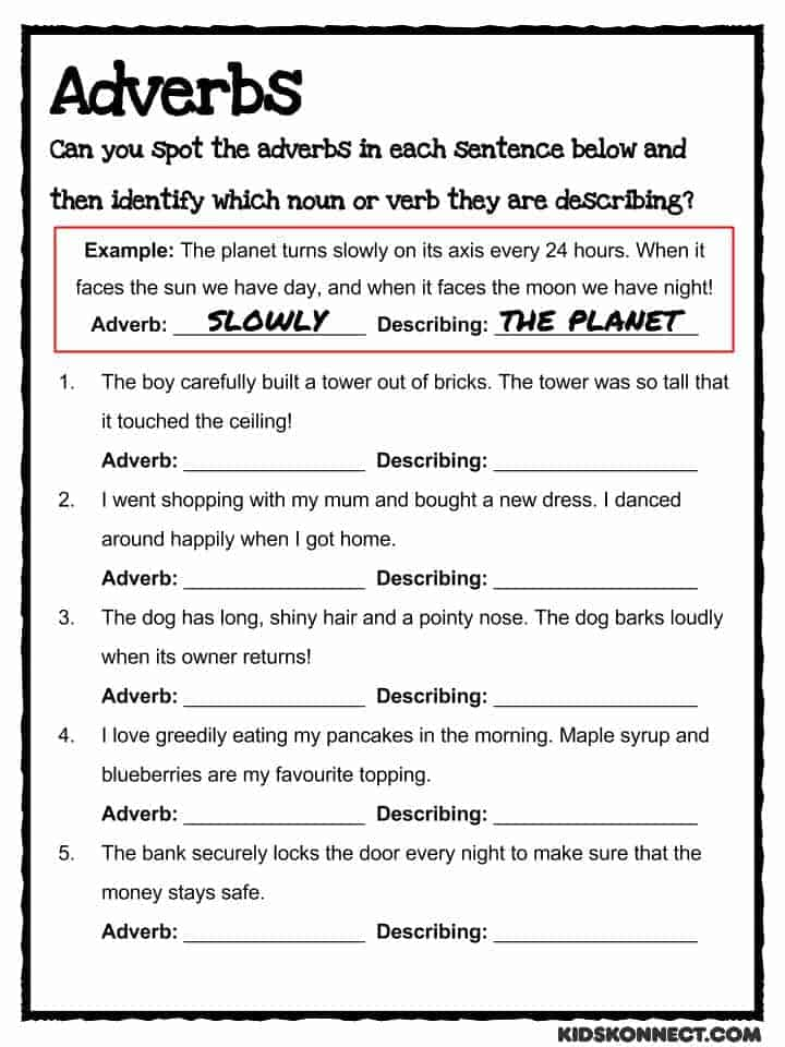 Adverb Study Worksheet (common Core)  Teaching Resource