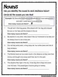 Noun Study Worksheet (Common Core)