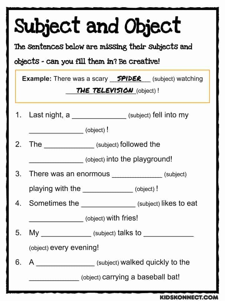 Subject & Object Study Worksheet (common Core