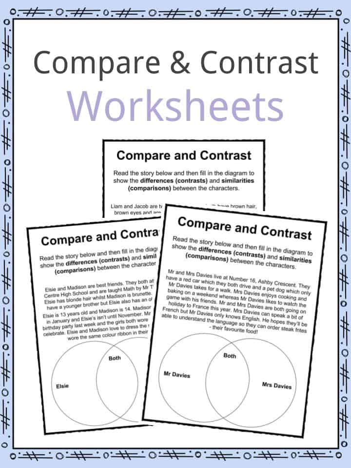 Compare And Contrast Worksheets  Lesson Plan Pdf's