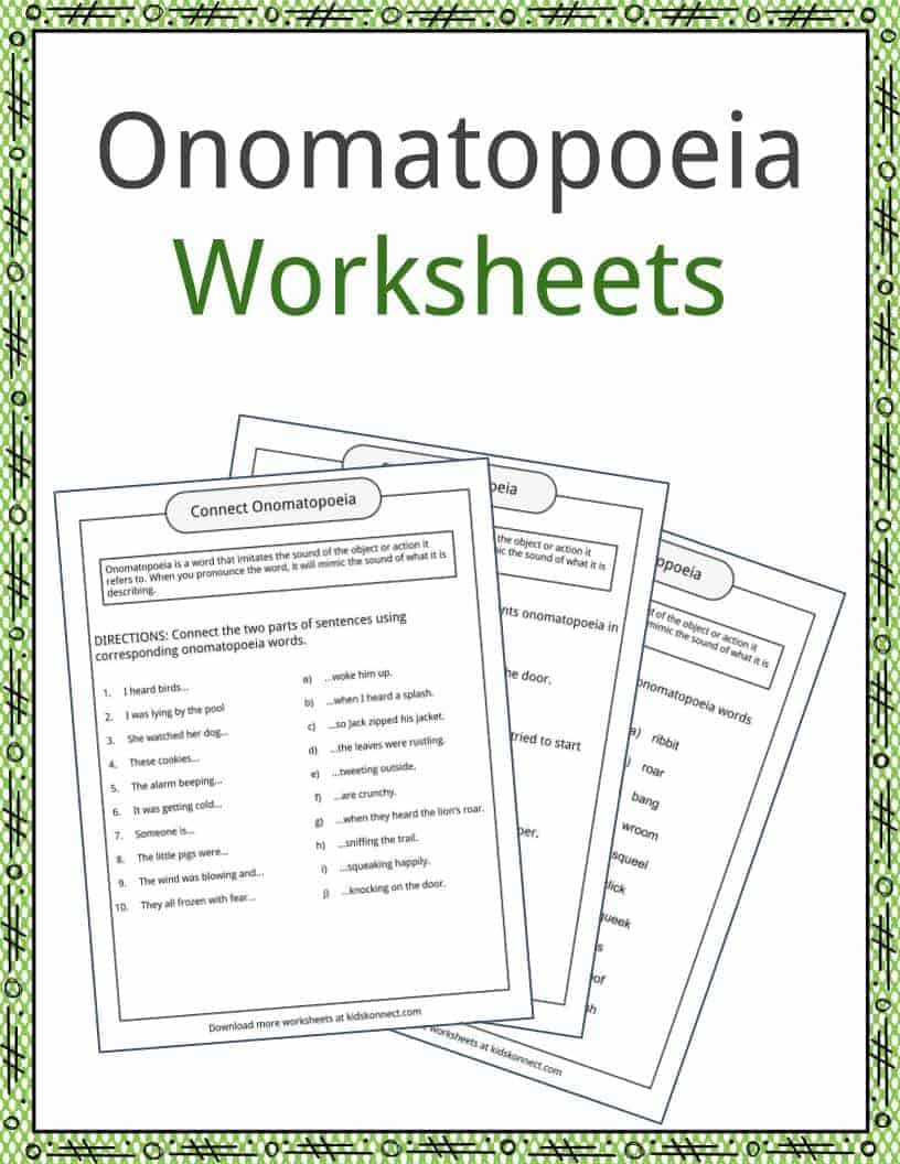 Onomatopoeia Examples, Definition and Worksheets   KidsKonnect
