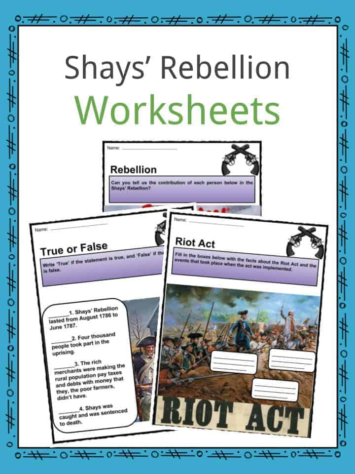 Shays U2019 Rebellion Facts  Worksheets Summary  U0026 Explanation