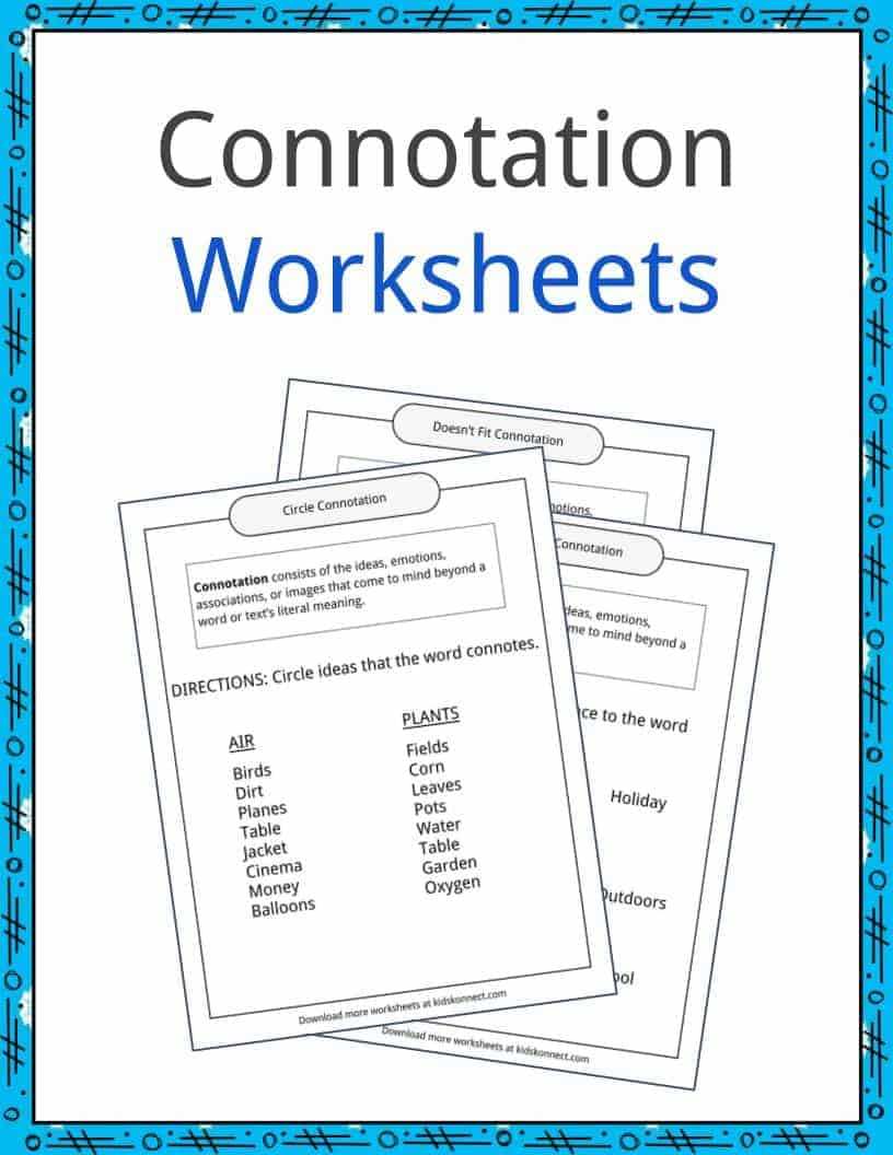 Connotation Examples Definition And Worksheets