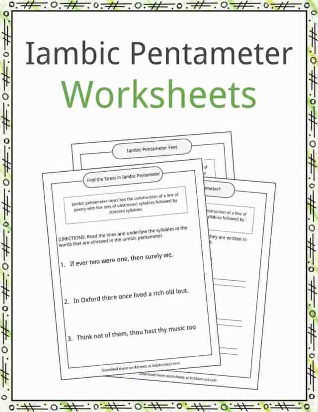 Iambic Pentameter Examples, Definition and Worksheets  KidsKonnect