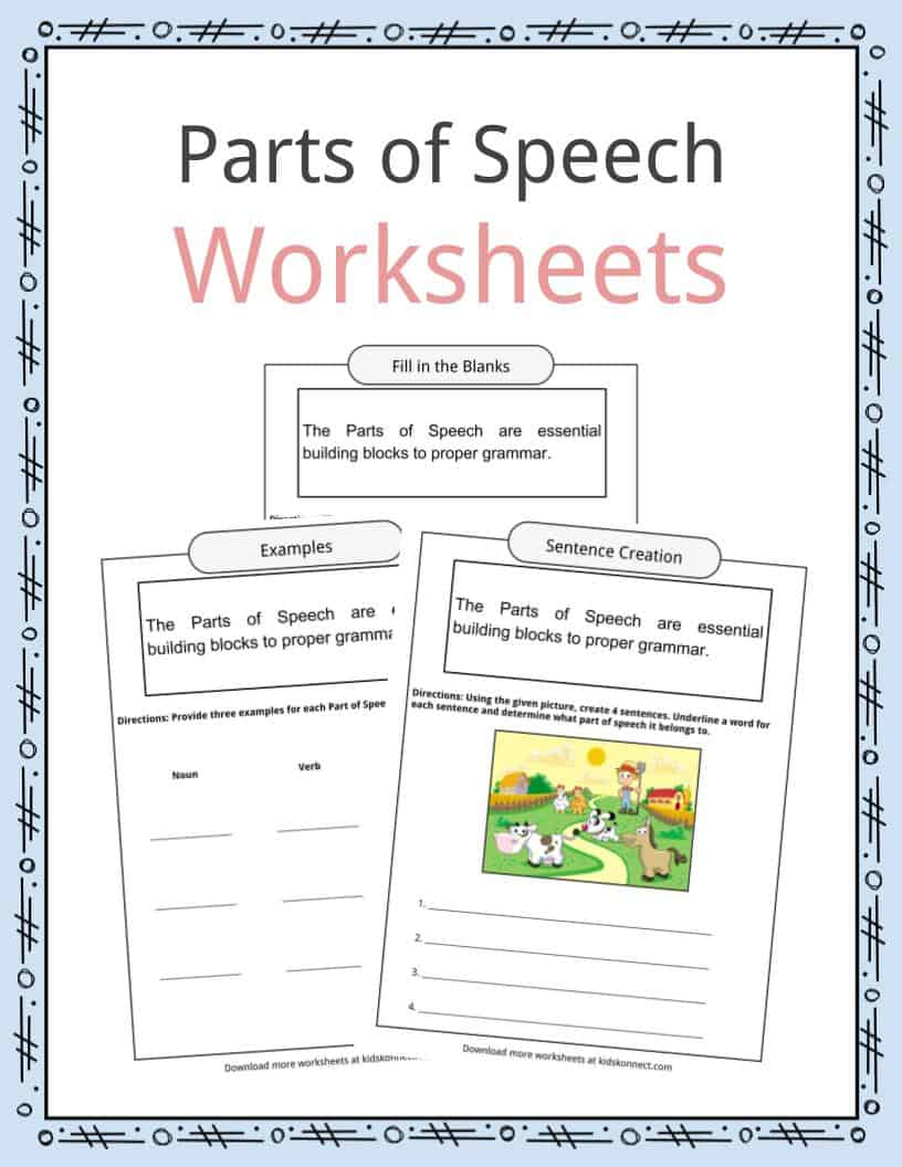 hight resolution of Parts of Speech Worksheets