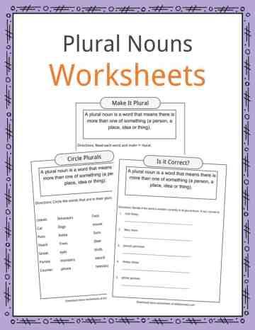 Plural Nouns Worksheets