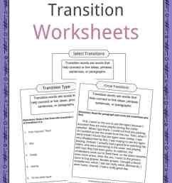 Transition Words Worksheets [ 1056 x 816 Pixel ]