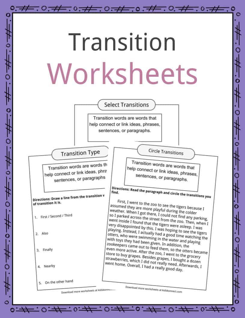 medium resolution of Transition Words Worksheets