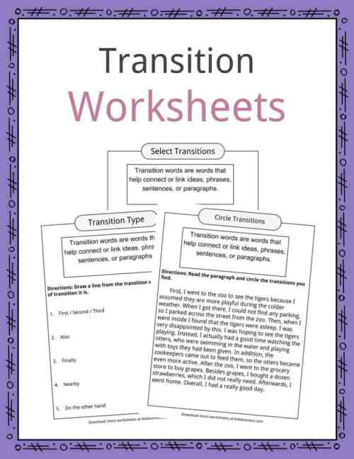small resolution of Transition Words Worksheets