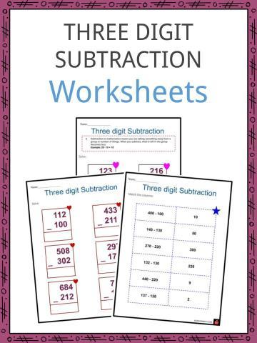 Three digit subtraction Worksheets