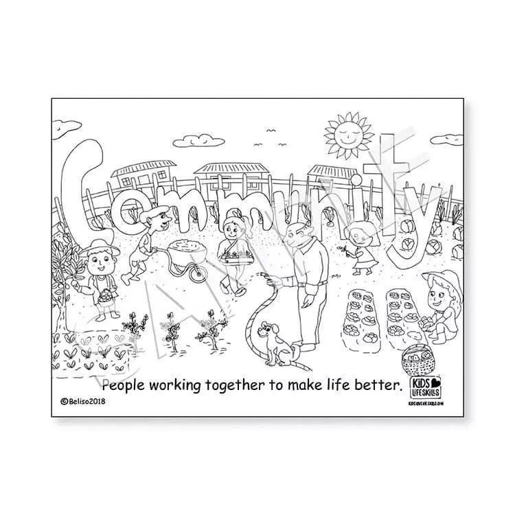 Community Life Skills Coloring Sheet