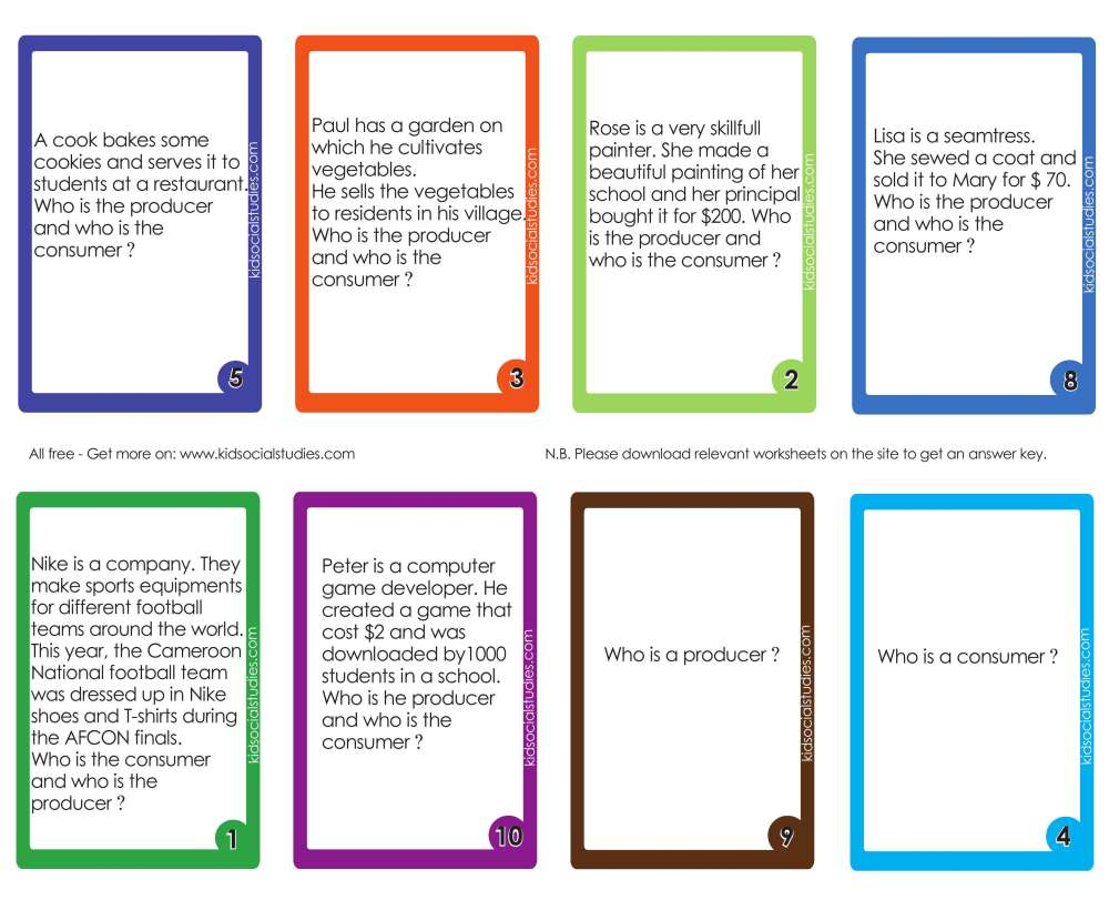 medium resolution of Producers and consumers flash cards for kids