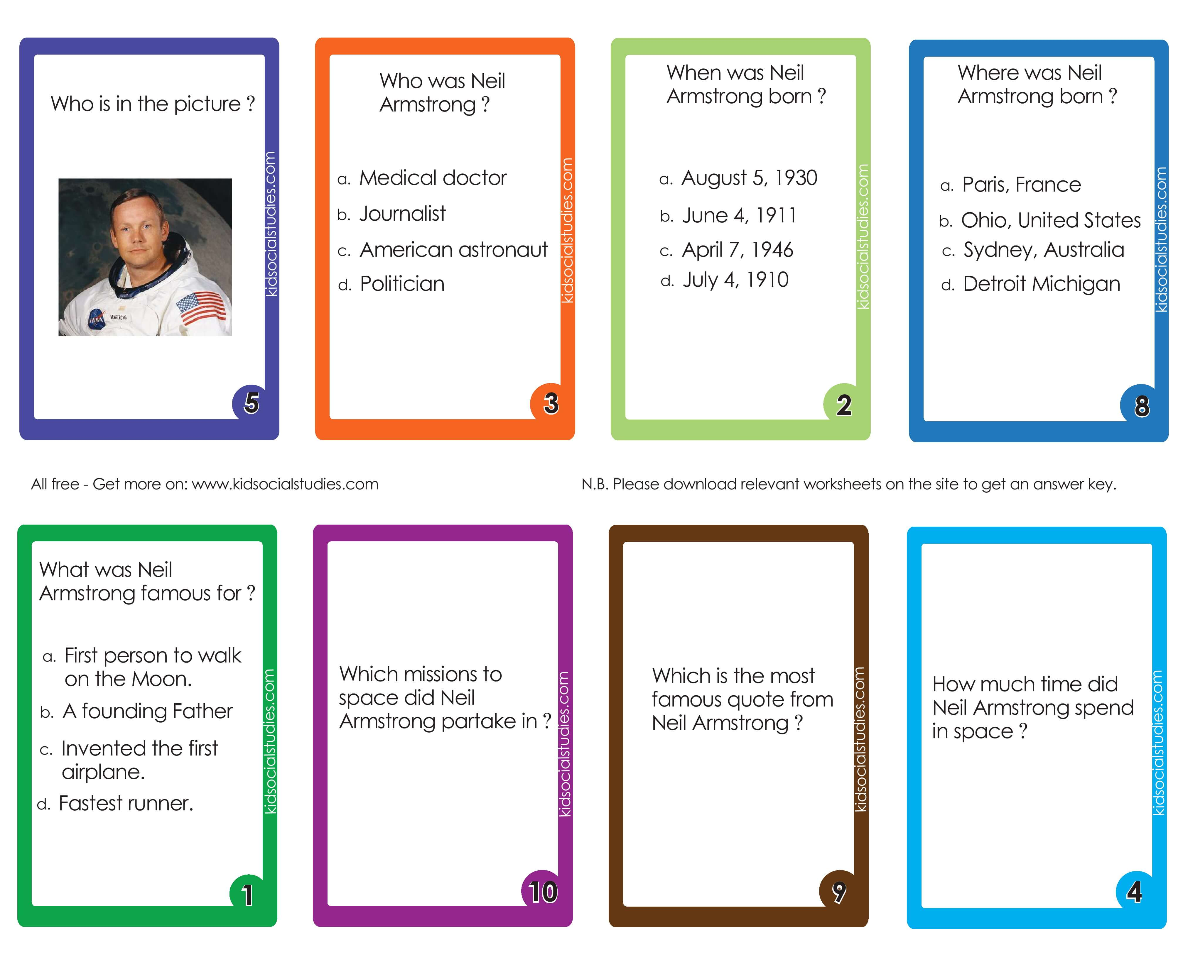 Neil Armstrong Flash Cards American History