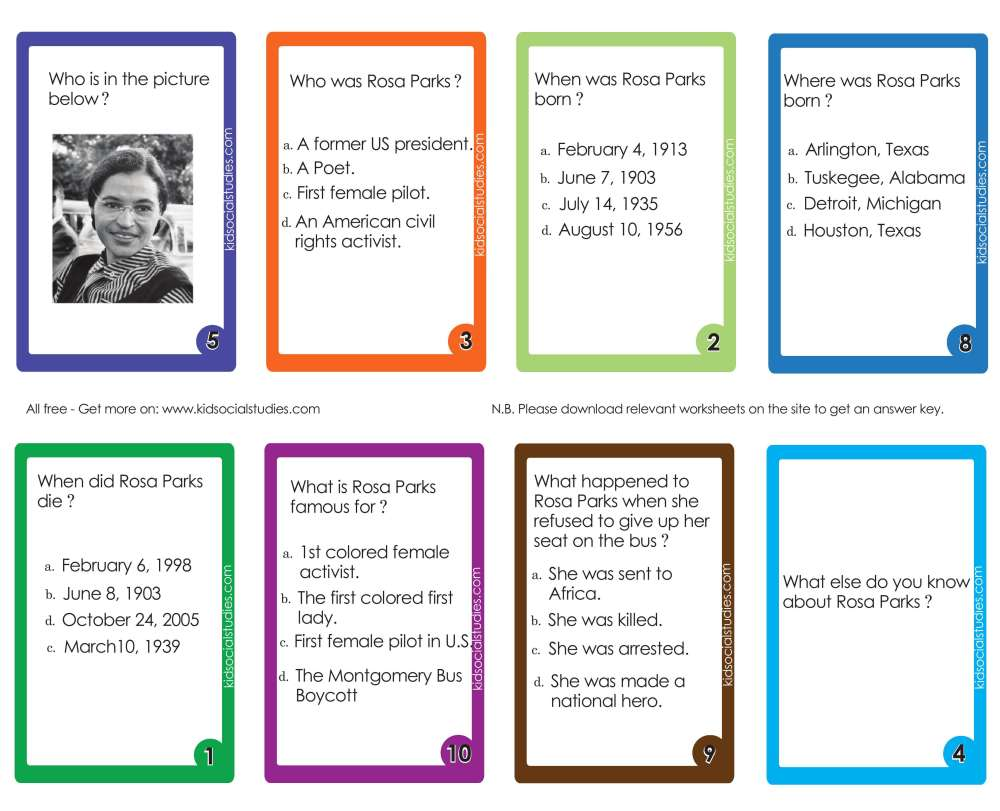 medium resolution of Rosa Parks Flash cards pdf printable downloads