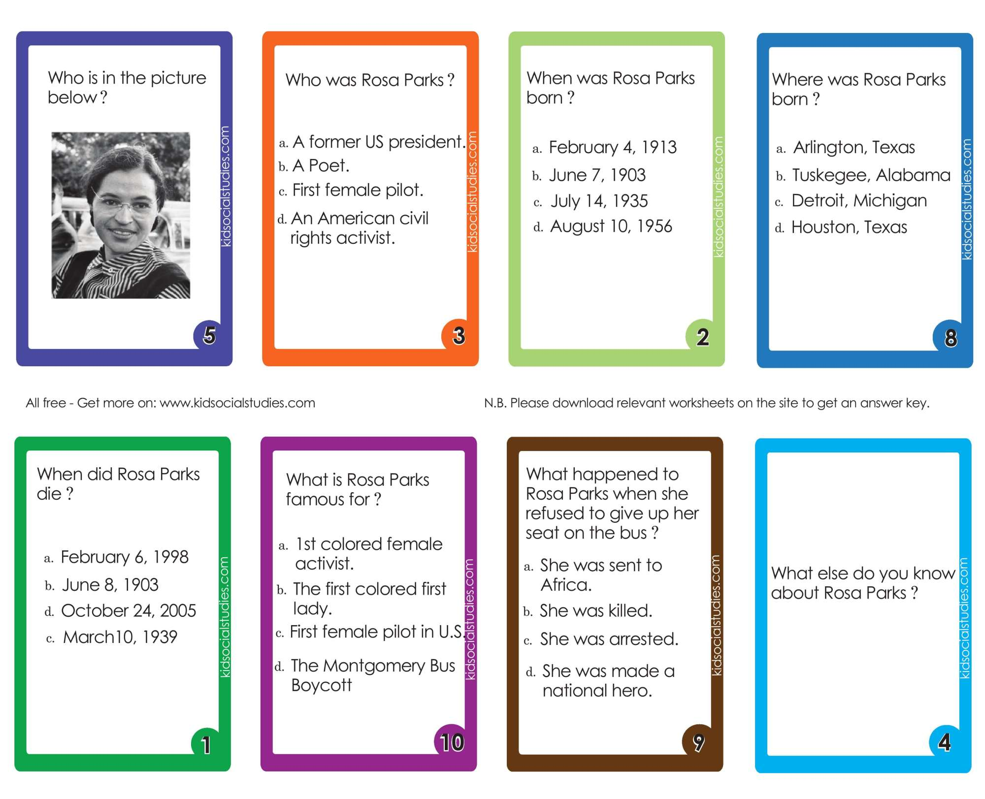 hight resolution of Rosa Parks Flash cards pdf printable downloads