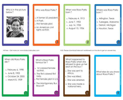 small resolution of Rosa Parks Flash cards pdf printable downloads