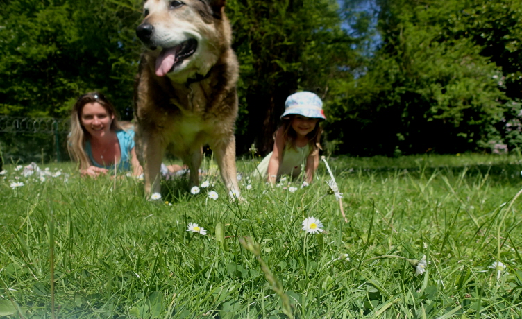 Image of woman, girl and brown dog sitting on grass