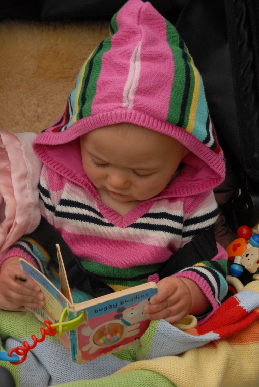 baby-in-pram-reading-a-book