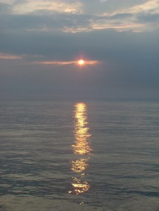 Image of Bay of Biscay sunset over calm sea