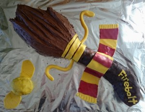 Image of firebolt-with-golden-snitch-harry-potter-chocolate-birthday-cake