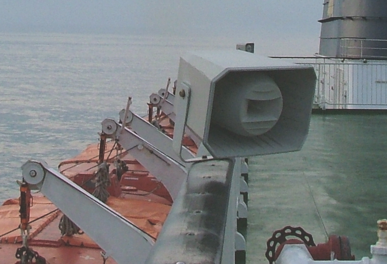 Image of tannoy-speaker on-top-deck-of-ship-at-sea