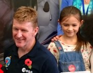 Image close up of girl with astronaut Tim Peake