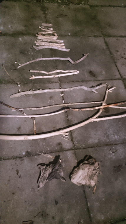 Image of pieces-of-driftwood-sticks-layed-on-ground-in-pyramid-shape