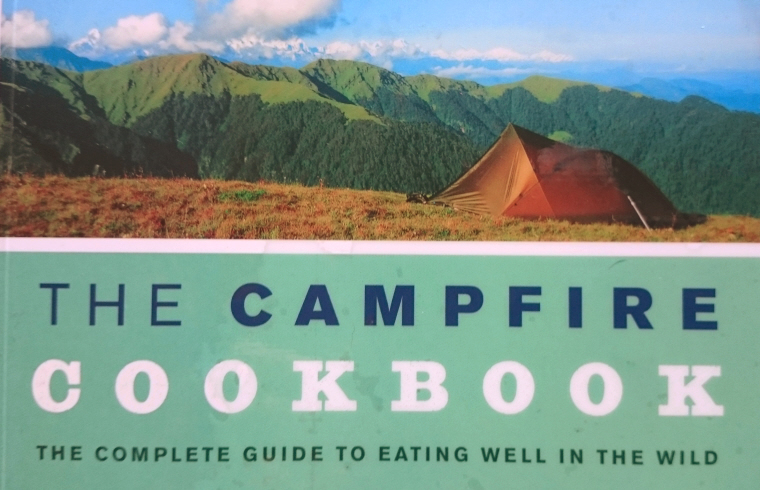 Image of campfire-cookbook-cover close up with tent and mountains in photo