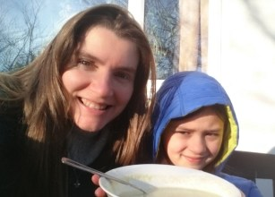 Image of girl-and-woman-selfie-with-soup-bowl